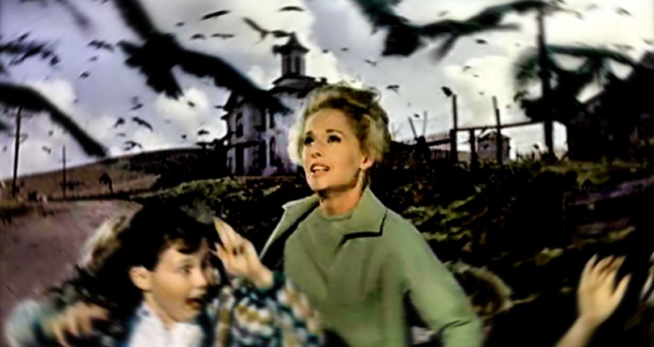 """A scene from Alfred Hitchcock's 1963 movie """"The Birds."""""""