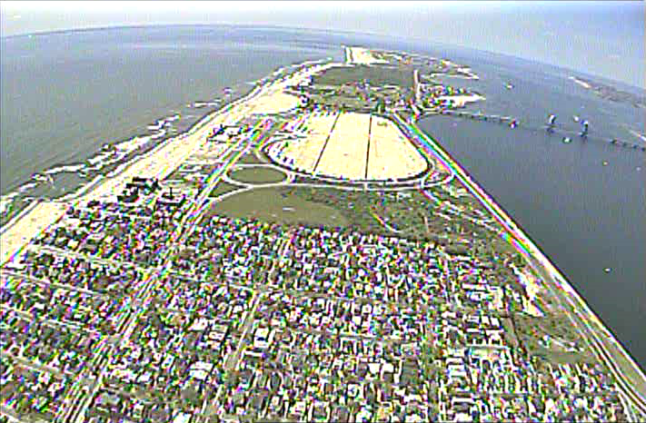 A still from video footage captured by the Tushev drone.