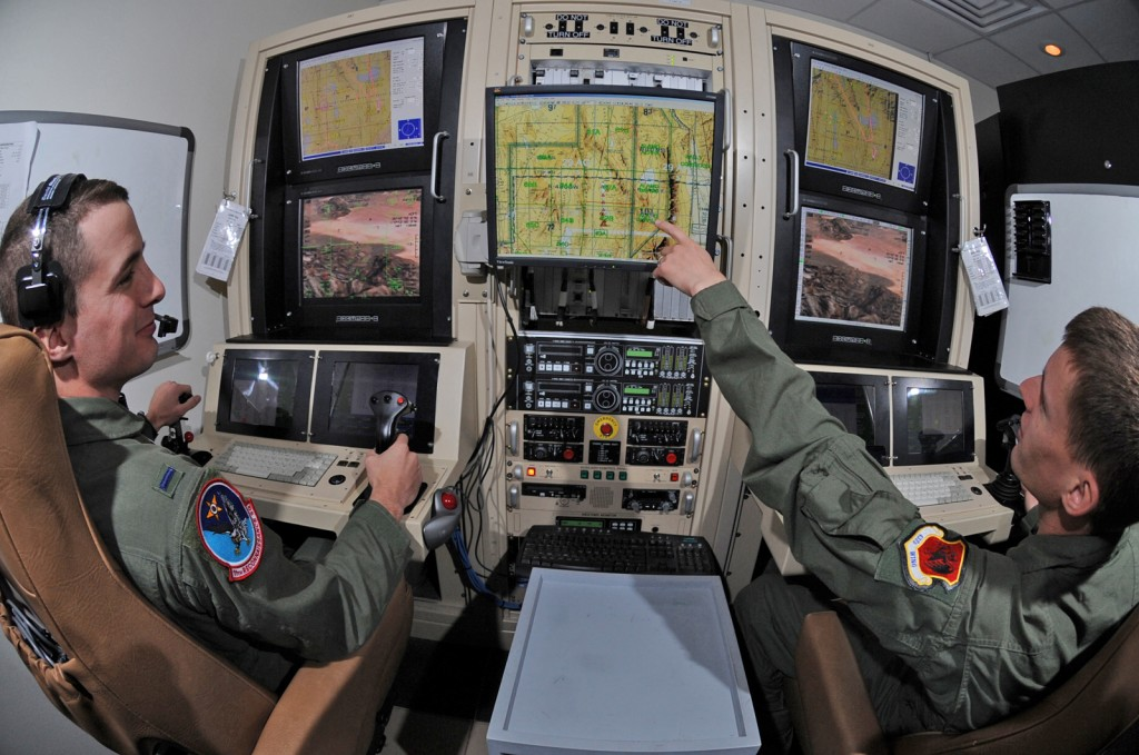 Pilots fly drones from Nevada via a satellite connection. (U.S. AIR FORCE / SENIOR AIRMAN NADINE Y. BARCLAY)