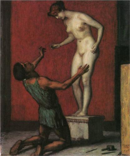 "Franz Stuck's painting ""Pygmalion,"" which depicts the Greek myth of the sculptor who falls in love with his sculpture."