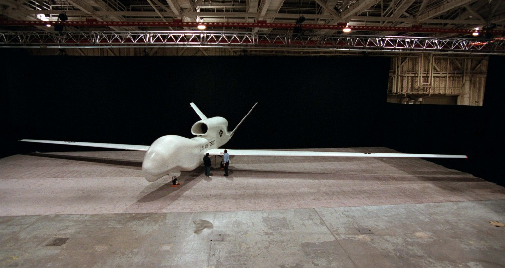 A Northrop Grumman Global Hawk surveillance drone. The Global Hawk is replacing the U-2 for high altitude covert surveillance missions. Photo: David Gossett/Teledyne Ryan Aeronautical
