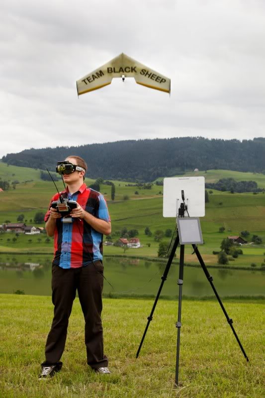Pirker operates his drones with an FPV system. A live feed links the drone's camera to Pirker's goggles.