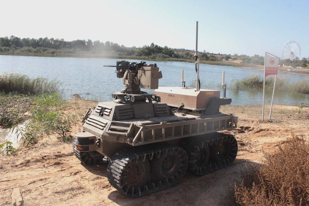 An Israeli unmanned ground vehicle at i-HLS 2013 Conference in Tel Aviv. Credit: Andrew Beale