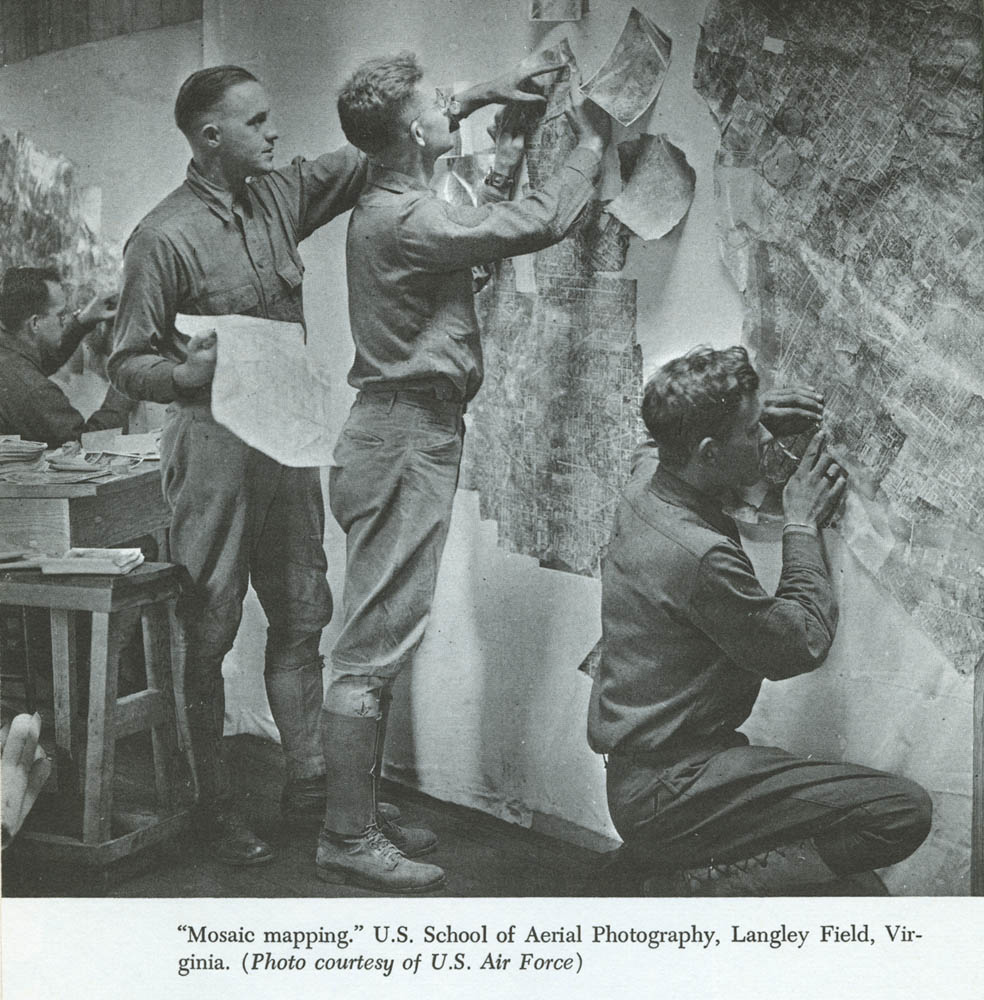 American photo interpreters learned mosaic mapping techniques. Credit: U.S. Air Force and McMaster University.