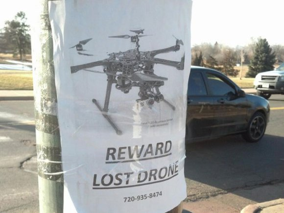 A multi-rotor drone belonging to a hobbyist in Denver went missing last week. Credit: James Hobson // Hackaday.com