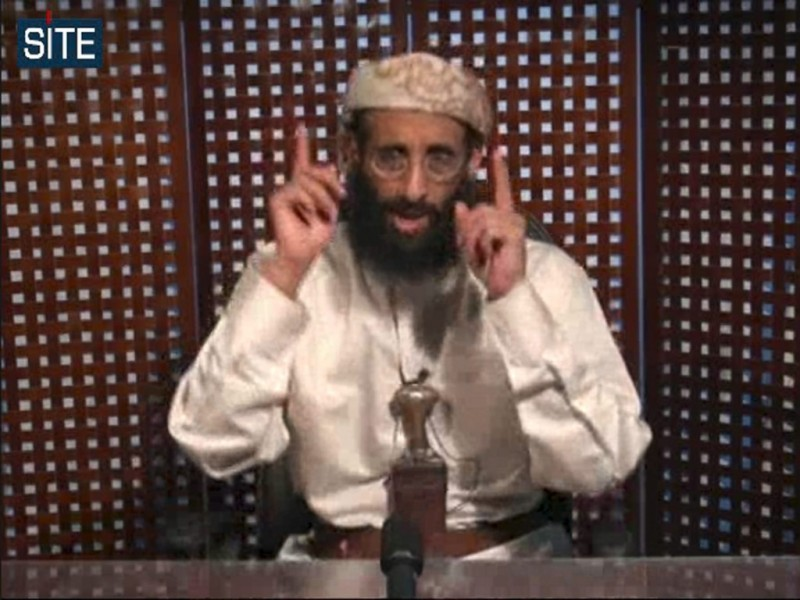 A still of Anwar al-Awlaki from a November 2010 video. A Department of Justice memo justifying the killing of al-Awlaki, a U.S. citizen, was released this week. Credit:  (AP Photo/SITE Intelligence Group, File)