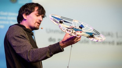 Sergei Lupashin, creator of the FOTOKITE at a TED talk. Credit: BBC News