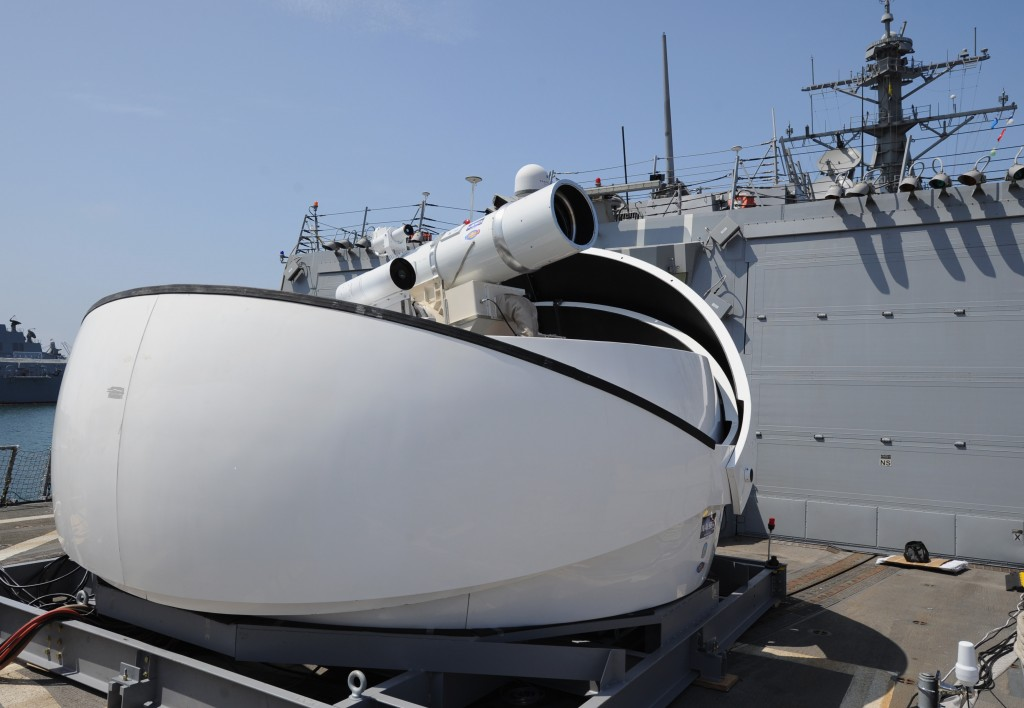 The U.S. Navy's solid state Laser Weapon System (LaWS) aboard the destroyer USS Dewey. Credit: Credit: U.S. Navy photo by John F. Williams/Released