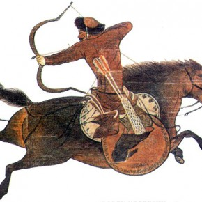 "A painted image of a Mongol horse archer performing what is known as the ""Partian Shot."" Credit: Pinterest/ Cafer Demir"