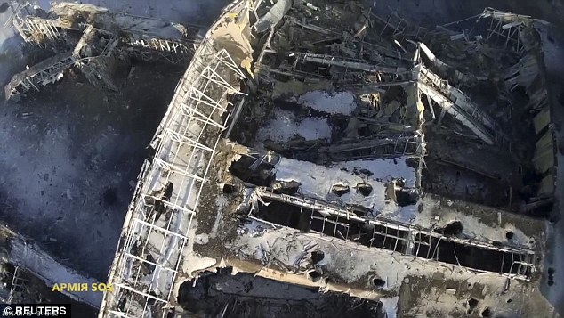 A video taken with a drone shows the extent of the destruction at Ukraine's Donetsk Airport. Credit: Reuters