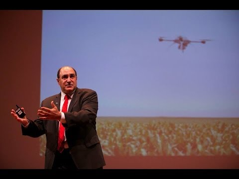 Michael Toscano speaking at the Drones and Aerial Robotics Conference in 2013. Credit: YouTube