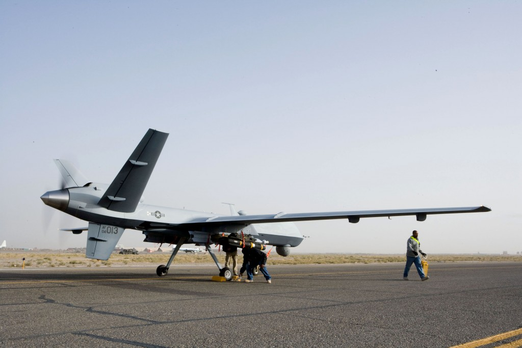 An MQ-9 Reaper is prepared for take-off in Afghanistan in September.  Credit: U.S. Air Force