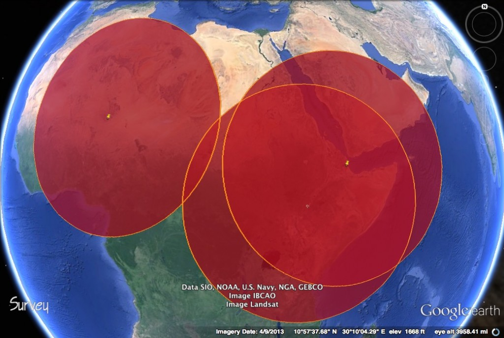 This map shows the 1151 mi. range of MQ-9 Reapers plotted from Agadez, Niger; Chabelley, Djibouti; and Arba Minch, Ethiopia.
