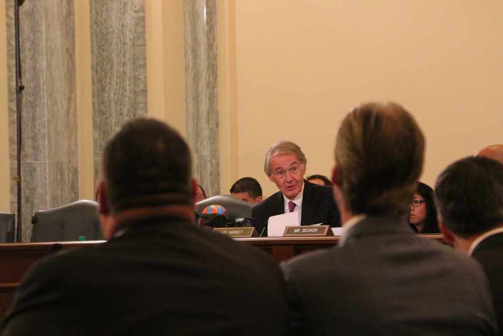 Senator Ed Markey (D-MA) holds up an AR Parrot drone at last week's hearing on domestic drones. Credit: Dan Gettinger