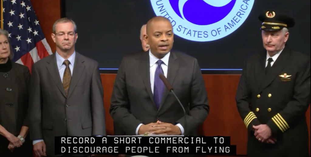 US Secretary of Transportation announcing a plan to require all drones to be registered. Image Via US DOT/ YouTube
