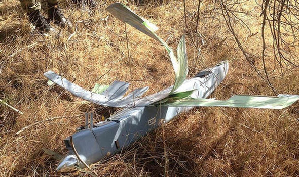 A reconnaissance drone shot down by Turkey on the border with Syria. Image via AP.