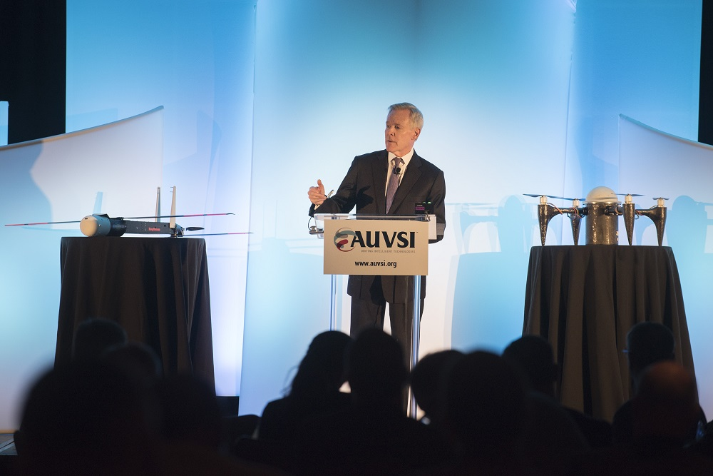 151027-N-LV331-001 ARLINGTON, Va. (Oct. 27, 2015) Secretary of the Navy (SECNAV) Ray Mabus delivers remarks about the unmanned systems industry. Mabus was the keynote speaker at the Unmanned Systems Defense technology discussion and spoke about the role the Department of the Navy has in technology innovation. (U.S. Navy photo by Mass Communication Specialist 2nd Class Armando Gonzales/Released)