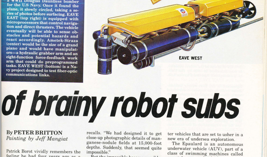 A 1983 article in Popular Science detailing the use of UUVs for scientific exploration. Via AUVAC.
