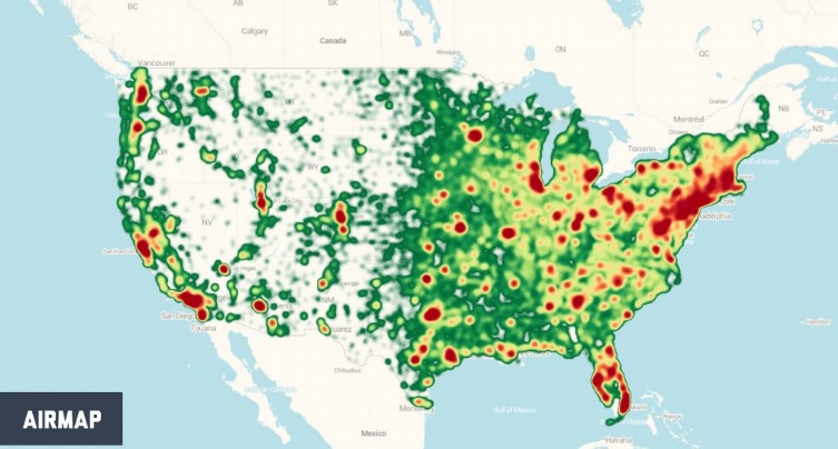 Registered drone users in the United States. Credit: AirMap.