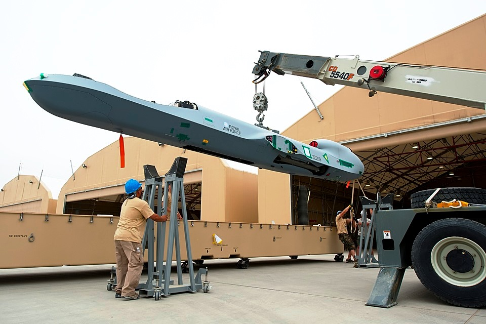 A Royal Air Force MQ-9 Reaper is loaded for transport. Credit: UK Ministry of Defence