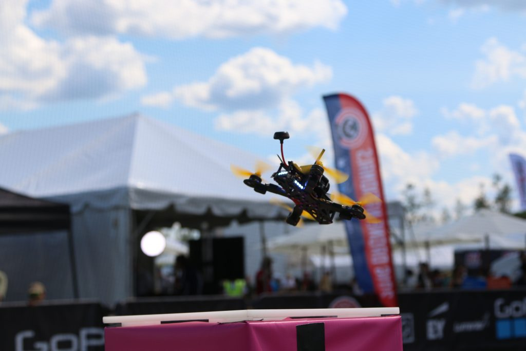 A drone takes off during the U.S. Drone Racing Championship on August 7, 2016. Credit: Dan Gettinger