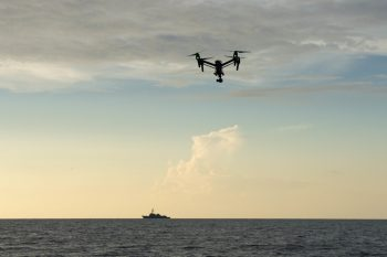 A DJI Inspire operated by U.S. Air Force Academy cadets flies near the guided-missile destroyer USS Jason Dunham (DDG 109) during exercise Black Dart, Sept. 19.  Credit: Mass Communication Specialist 1st Class Maddelin/USN