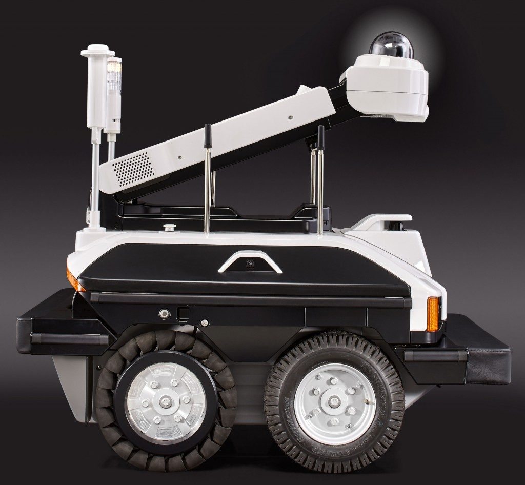 Sharp and ASI unveiled the Intellos unmanned ground vehicle, a security robot. Credit: Sharp